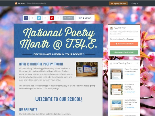 Tilden Hogge Elementary Celebrated National Poetry Month and Poem in Your Pocket Day