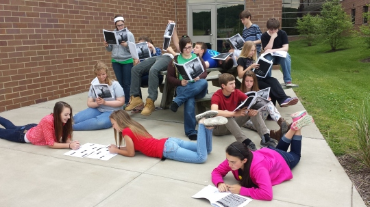 Students enjoying their published work